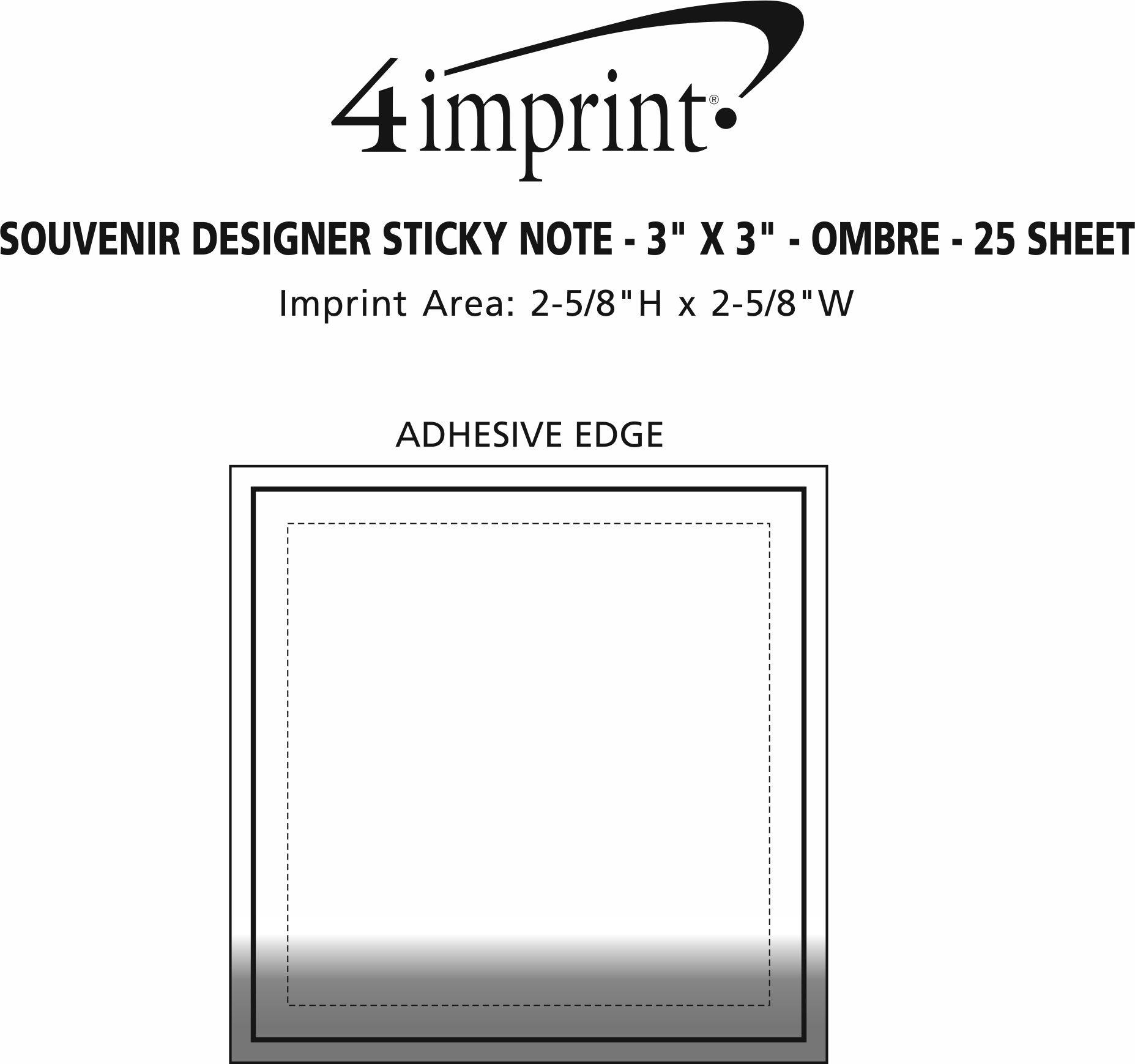 """Imprint Area of Bic Sticky Note - Designer - 3"""" x 3"""" - Ombre - 25 Sheet"""