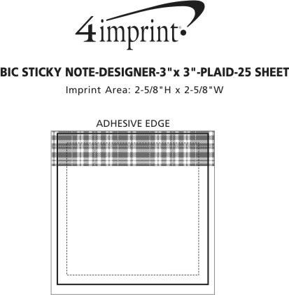 Imprint Area of Bic Sticky Note - Designer - 3x3 - Plaid - 25 Sheet