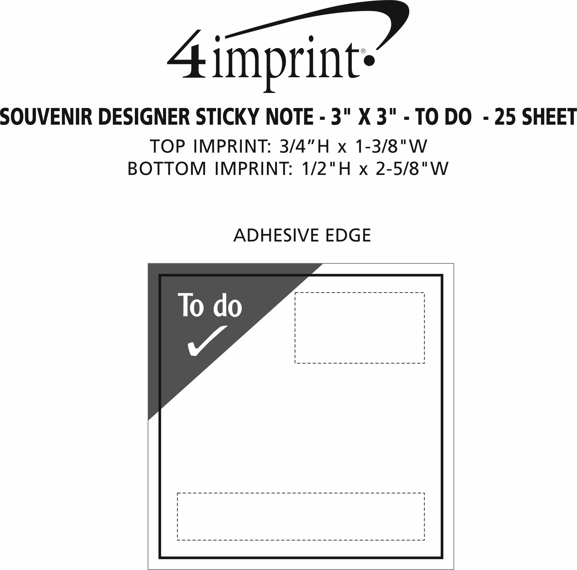 """Imprint Area of Bic Sticky Note - Designer - 3"""" x 3"""" - To Do  - 25 Sheet"""