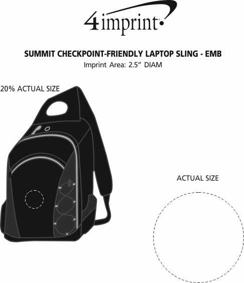 Imprint Area of Summit Checkpoint-Friendly Laptop Sling - Embroidered