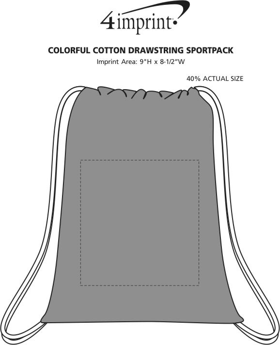 Imprint Area of Colorful Cotton Drawstring Sportpack