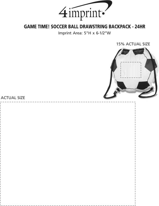 Imprint Area of Game Time! Soccer Ball Drawstring Backpack - 24 hr