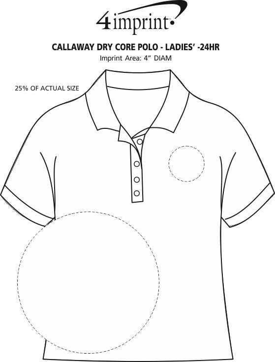 Imprint Area of Callaway Dry Core Polo - Ladies' - 24 hr