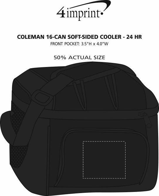 Imprint Area of Coleman 16-Can Soft-Sided Cooler - 24 hr