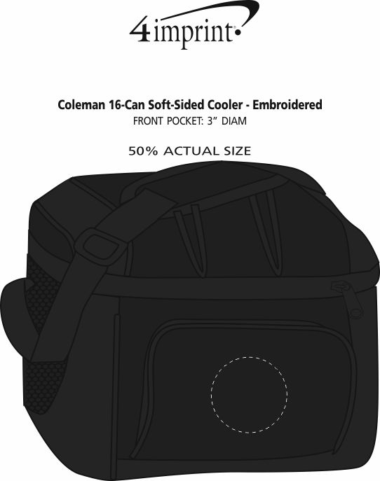 Imprint Area of Coleman 16-Can Soft-Sided Cooler - Embroidered