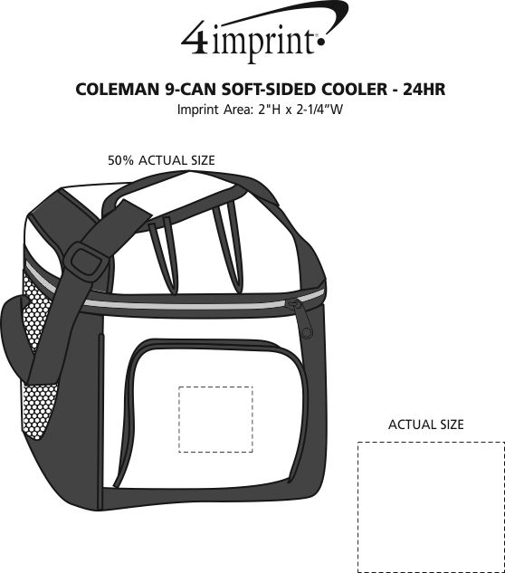 Imprint Area of Coleman 9-Can Soft-Sided Cooler - 24 hr