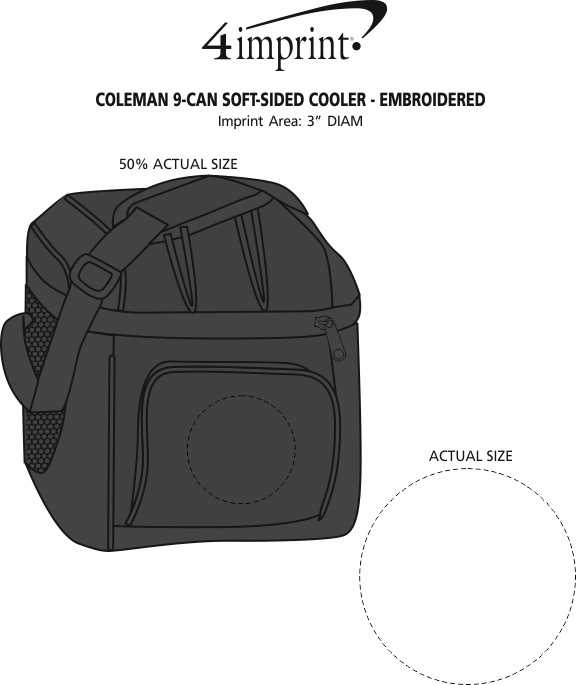 Imprint Area of Coleman 9-Can Soft-Sided Cooler - Embroidered