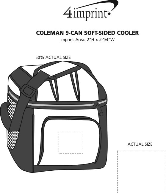 Imprint Area of Coleman 9-Can Soft-Sided Cooler
