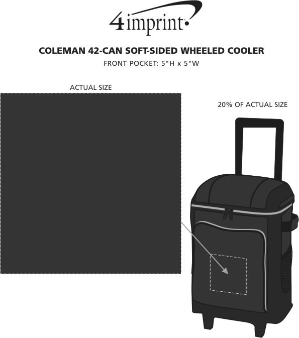 Imprint Area of Coleman 42-Can Soft-Sided Wheeled Cooler