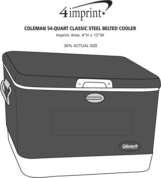 Imprint Area of Coleman 54-Quart Classic Steel Belted Cooler