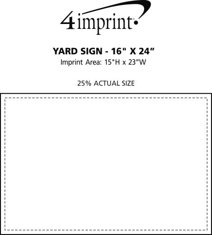 "Imprint Area of Plastic Sheeting Yard Sign - 16"" x 24"""
