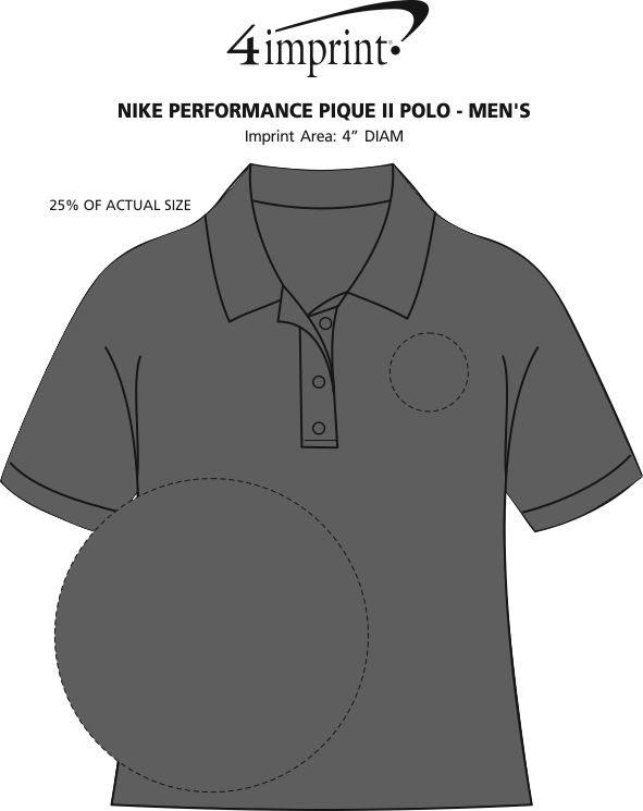 Imprint Area of Nike Performance Pique II Polo - Men's