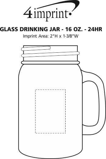 Imprint Area of Glass Drinking Jar - 16 oz. - 24 hr