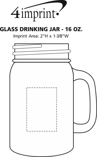 Imprint Area of Glass Drinking Jar - 16 oz.