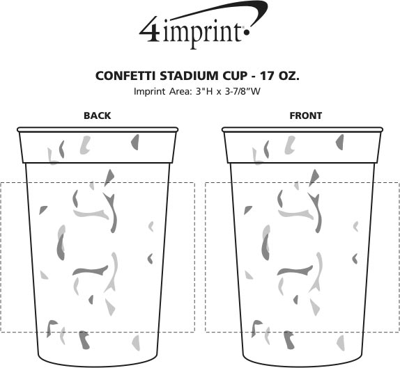 Imprint Area of Confetti Stadium Cup - 17 oz.
