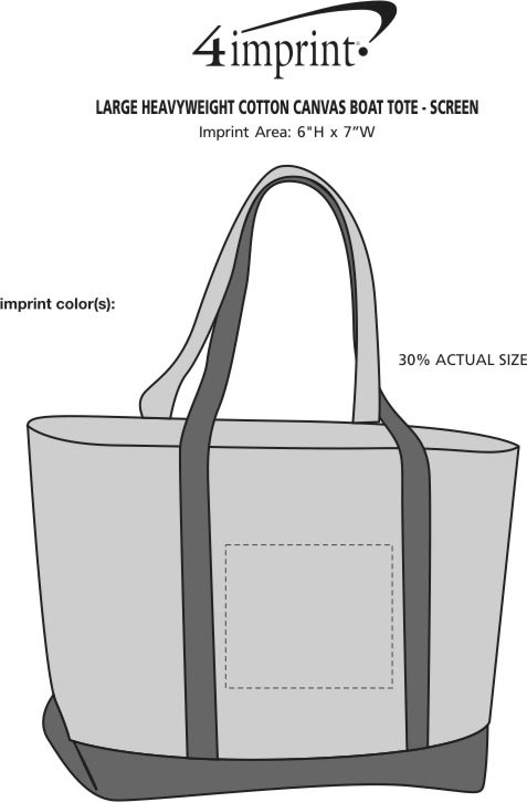 Imprint Area of Large Heavyweight Cotton Canvas Boat Tote - Screen