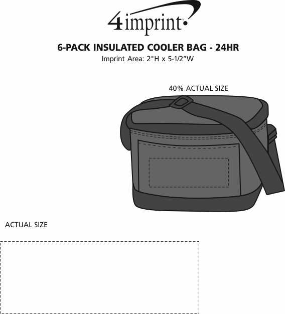 Imprint Area of 6-Pack Insulated Cooler Bag - 24 hr