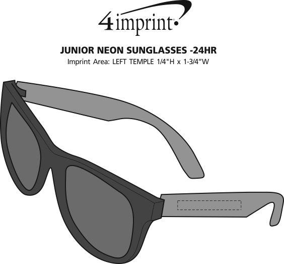 Imprint Area of Junior Neon Sunglasses - 24 hr