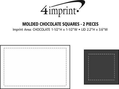 Imprint Area of Molded Chocolate Squares - 2 Pieces