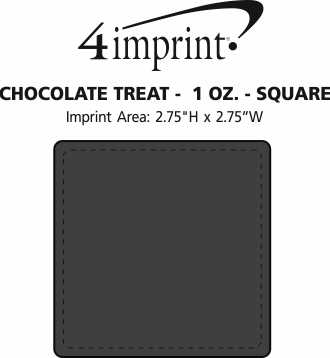 Imprint Area of Chocolate Treat - 1 oz. - Square