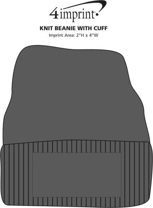 Imprint Area of Rib Knit Beanie with Cuff