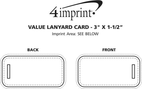 "Imprint Area of Value Lanyard Card - 3"" x 1-1/2"""