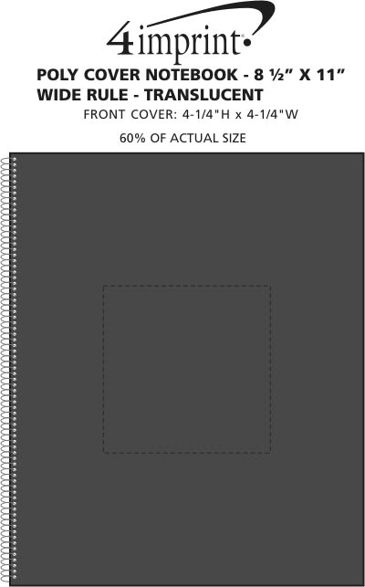 Imprint Area of Poly Cover Notebook - 10-7/8 x 8-3/16 -Wide Rule-Translucent