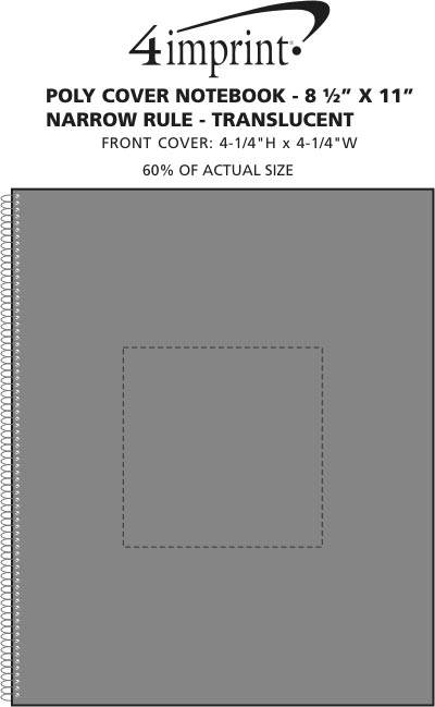 Imprint Area of Poly Cover Notebook-10-7/8 x 8-3/16- Narrow Rule-Translucent
