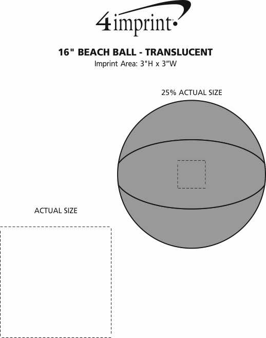 "Imprint Area of 16"" Beach Ball - Translucent"