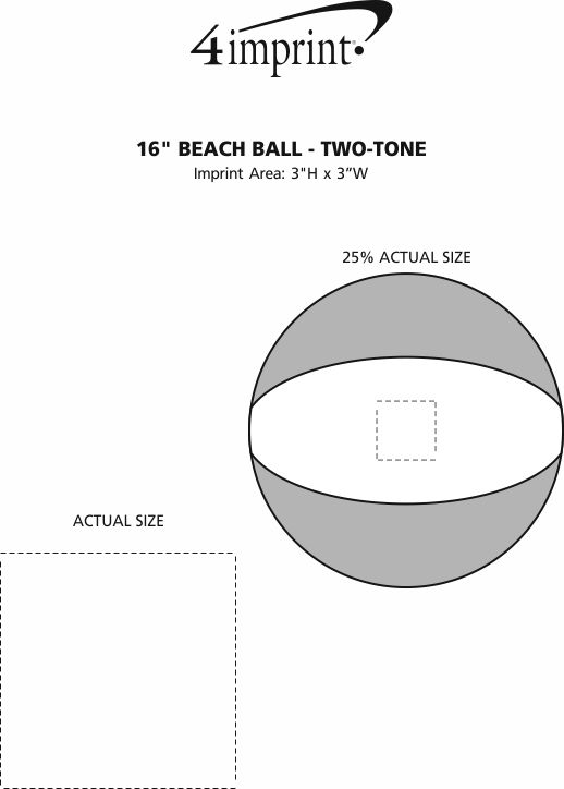 "Imprint Area of 16"" Beach Ball - Two-Tone"