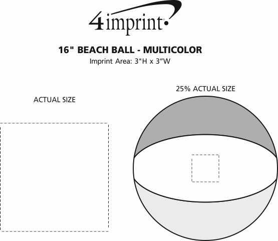 "Imprint Area of 16"" Beach Ball - Multicolor"