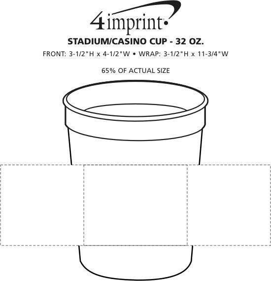 Imprint Area of Stadium/Casino Cup - 32 oz.