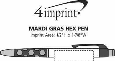 Imprint Area of Mardi Gras Hex Pen