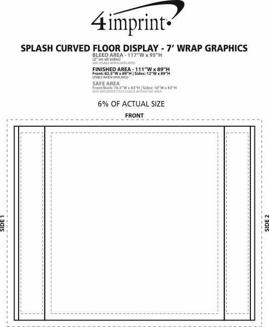 Imprint Area of Splash Curved Floor Display - 7' - Wrap Graphics