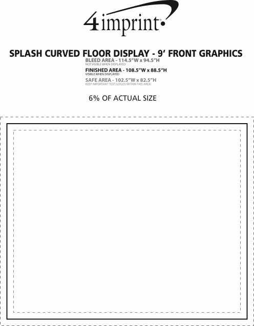 Imprint Area of Splash Curved Floor Display - 9' - Front Graphics
