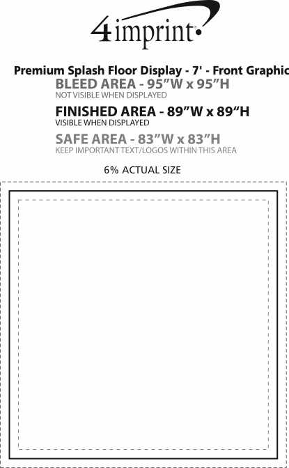 Imprint Area of Premium Splash Floor Display - 7' - Front Graphic