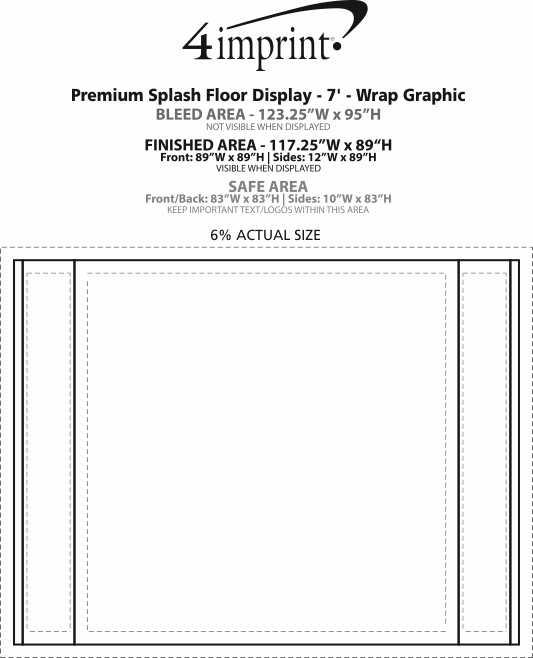 Imprint Area of Premium Splash Floor Display - 7' - Wrap Graphic