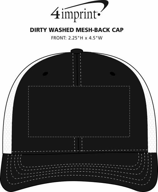 Imprint Area of Dirty Washed Mesh-Back Cap