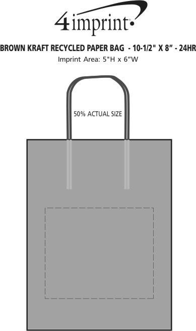 "Imprint Area of Brown Kraft Paper Bag  - 10-1/2"" x 8"" - 24 hr"