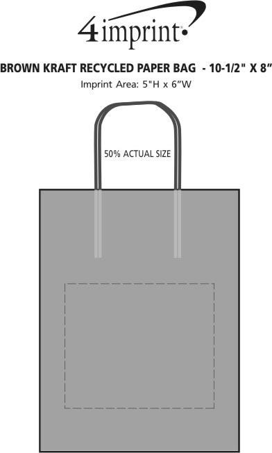 """Imprint Area of Brown Kraft Paper Bag  - 10-1/2"""" x 8"""""""