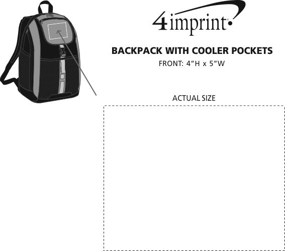Imprint Area of Backpack with Cooler Pockets
