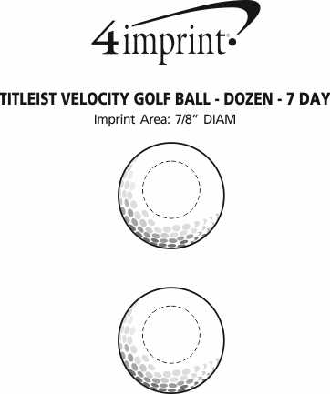Imprint Area of Titleist Velocity Golf Ball - Dozen - Factory Direct