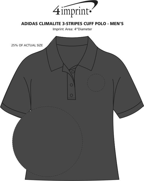 Imprint Area of adidas Climalite 3-Stripes Cuff Polo - Men's
