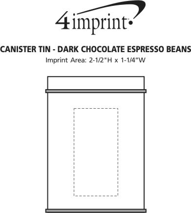Imprint Area of Canister Tin - Dark Chocolate Espresso Beans