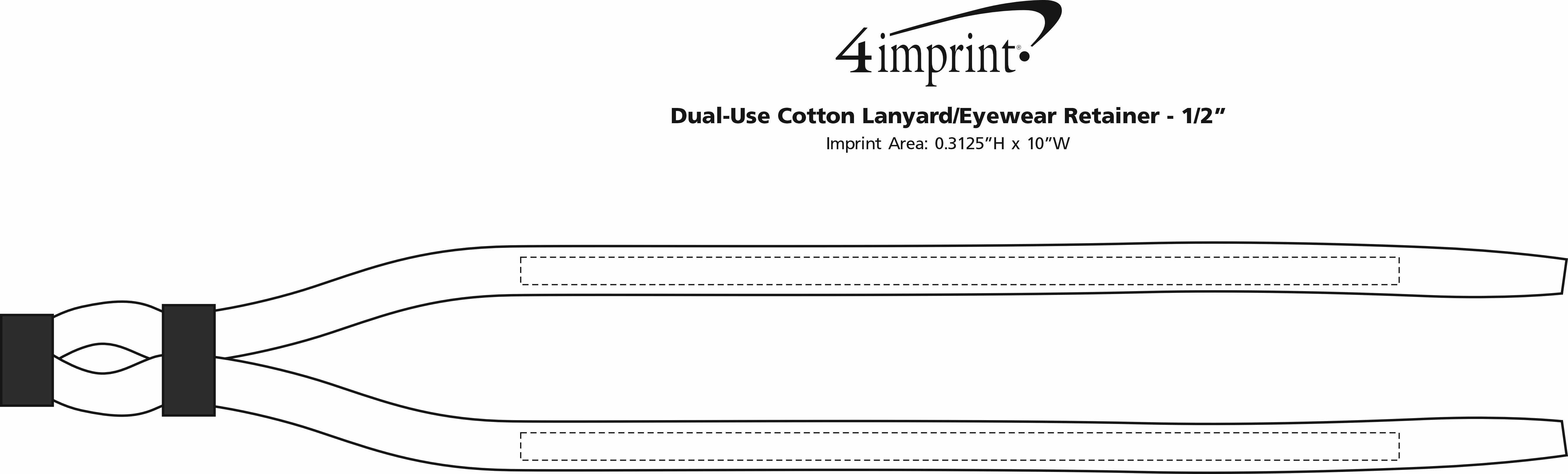 """Imprint Area of Dual-Use Cotton Lanyard/Eyewear Retainer - 1/2"""""""