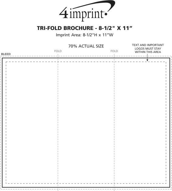 "Imprint Area of Tri-Fold Brochure - 8-1/2"" x 11"""