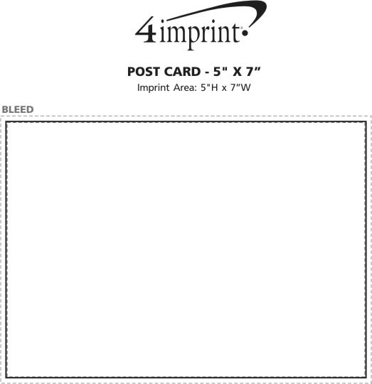 "Imprint Area of Post Card - 5"" x 7"""