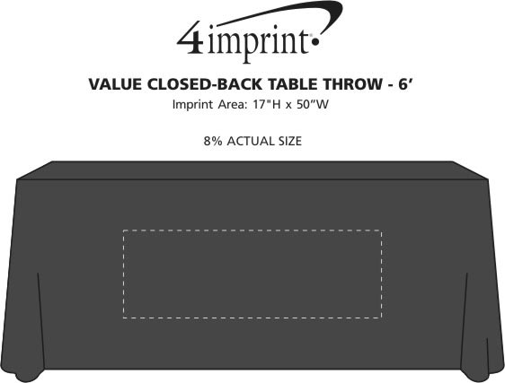 Imprint Area of Serged Value Closed-Back Table Throw - 6'