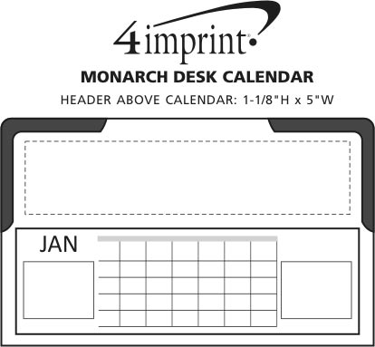 Imprint Area of Monarch Desk Calendar
