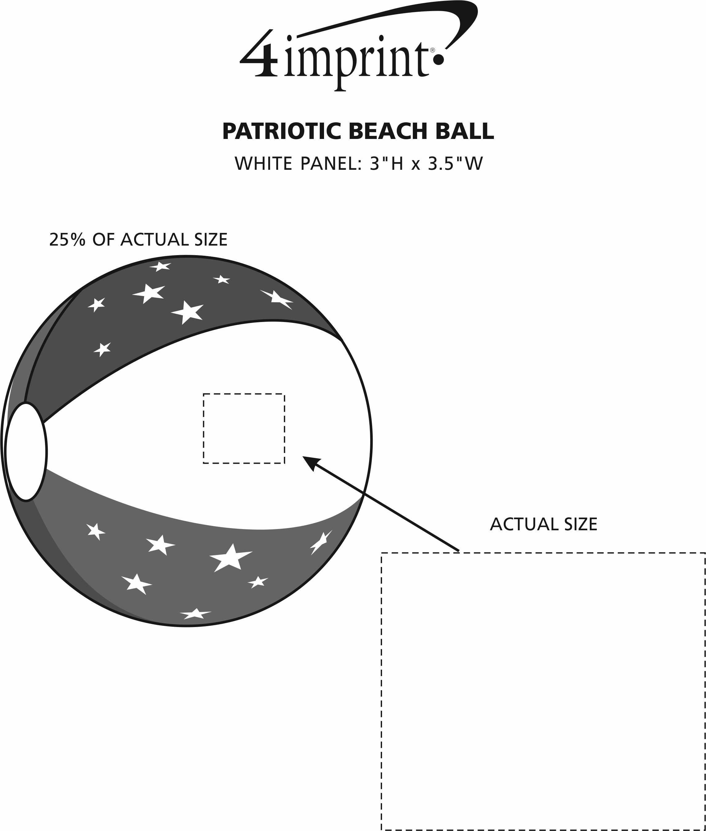Imprint Area of Patriotic Beach Ball
